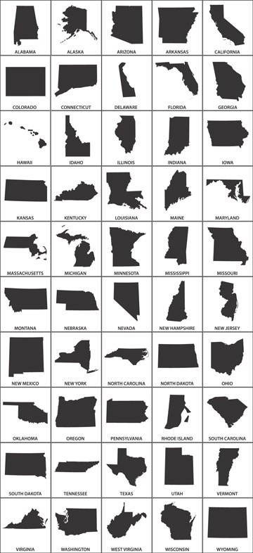 state names and shapes